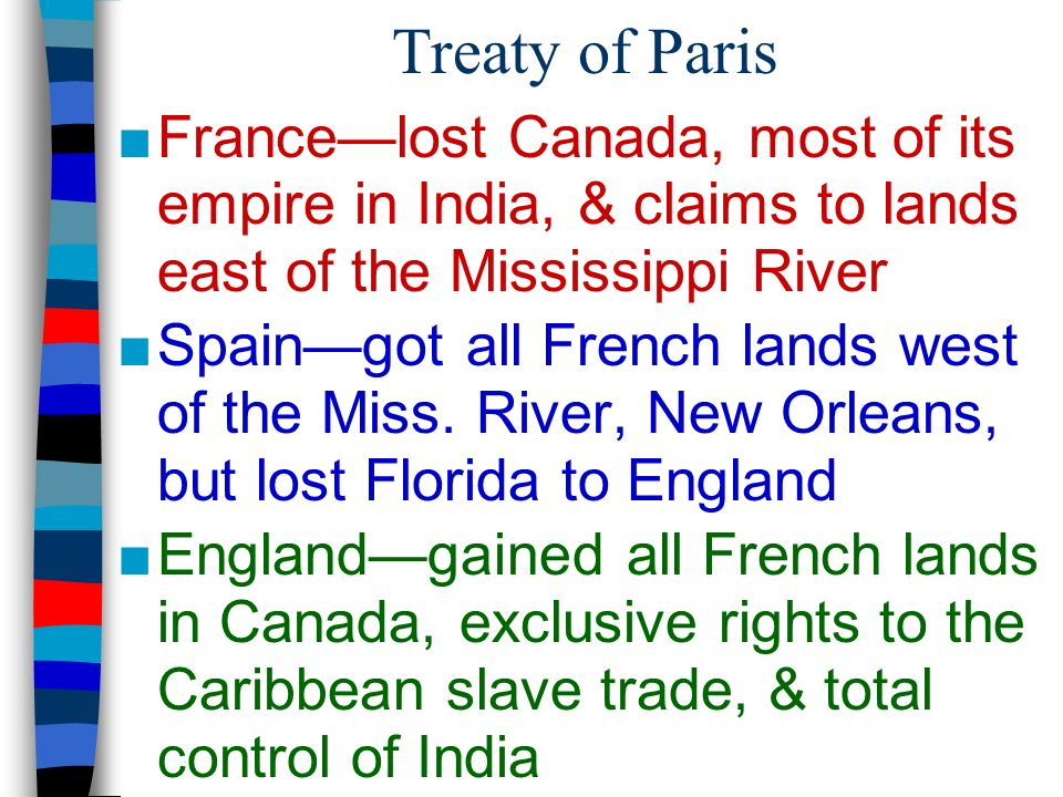 Treaty of Paris France—lost Canada, most of its empire in India, & claims to lands east of the Mississippi River.