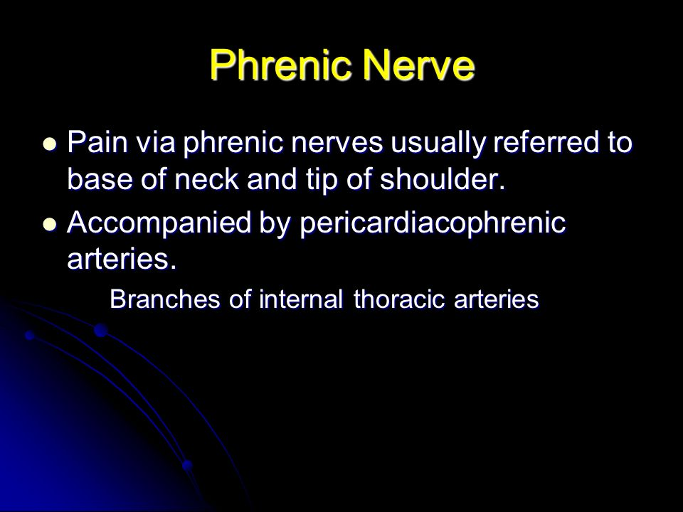 Phrenic Nerve Pain via phrenic nerves usually referred to base of neck and tip of shoulder. Accompanied by pericardiacophrenic arteries.