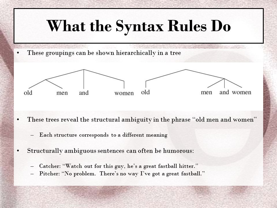Ch 2 syntax the sentence patterns of language ppt video online what the syntax rules do ccuart Images