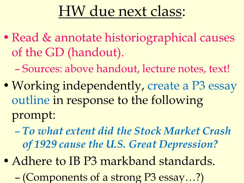 Ib Hoa  Unit  Day  The Causes Of The American Great Depression  Hw Due Next Class Read  Annotate Historiographical Causes Of The Gd  Handout