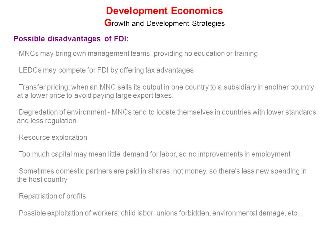disadvantages of economic growth in developing countries