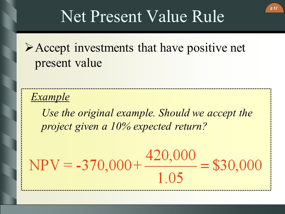investments net present value and investment Net present value (npv) the difference between an investment's market value and its cost it is a measure of how much value is created or added today by undertaking an investment.
