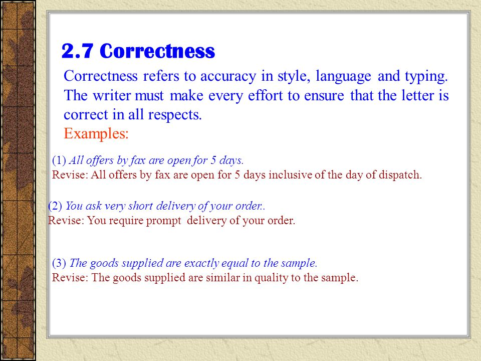 Business letter writing ppt video online download 12 27 correctness correctness altavistaventures Gallery