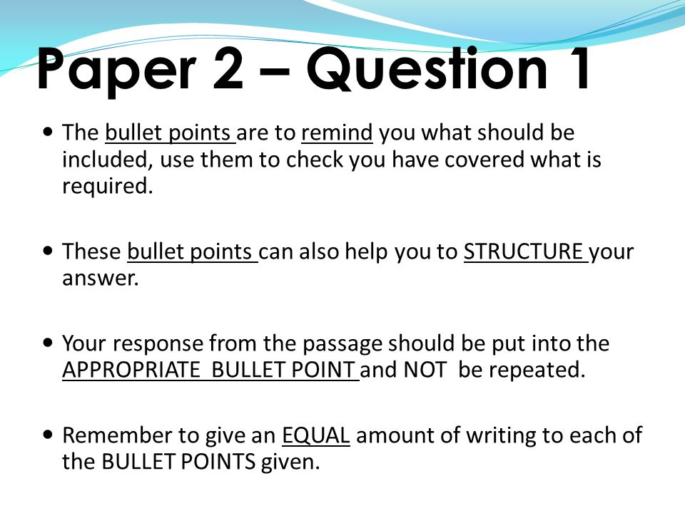 bullet point essay example