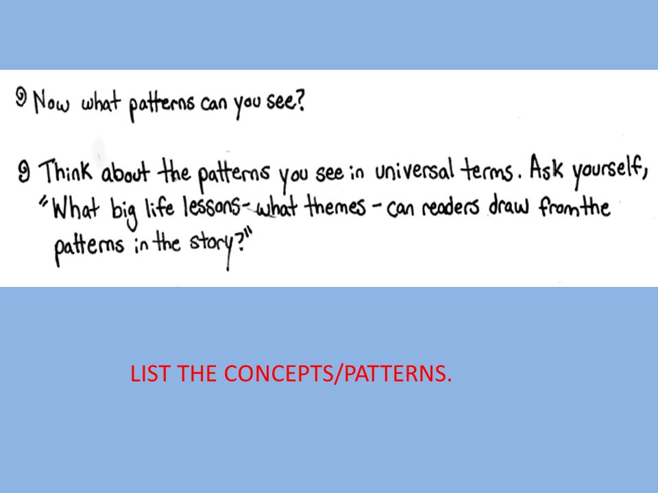 LIST THE CONCEPTS/PATTERNS.