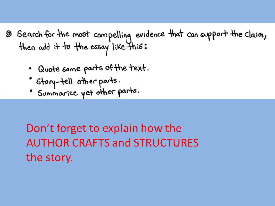 Don't forget to explain how the AUTHOR CRAFTS and STRUCTURES the story.