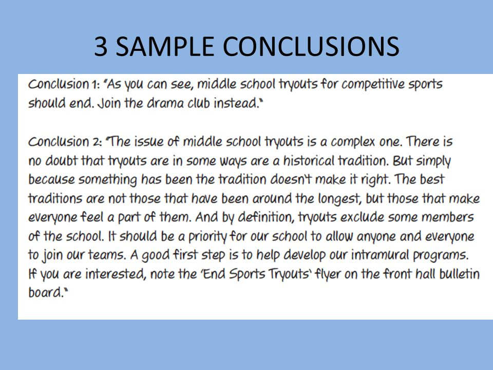 3 SAMPLE CONCLUSIONS