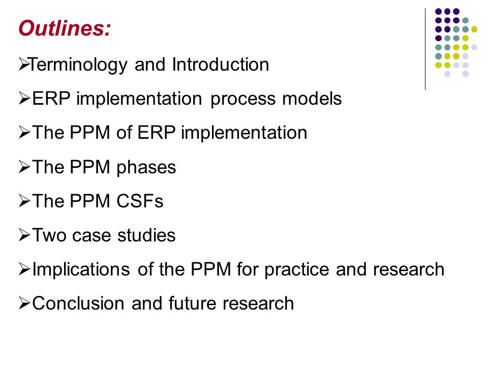 A Model Of ERP Project Implementation 2 Outlines Terminology And Introduction