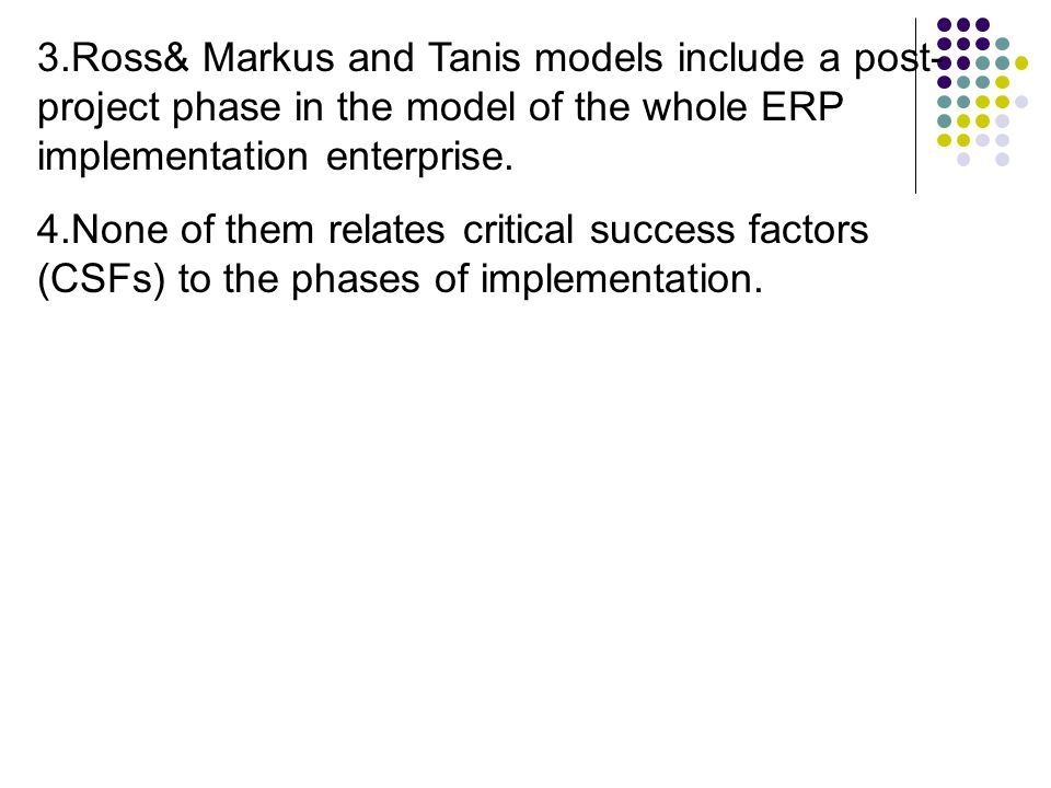 Ross Markus And Tanis Models Include A Post Project Phase In The Model