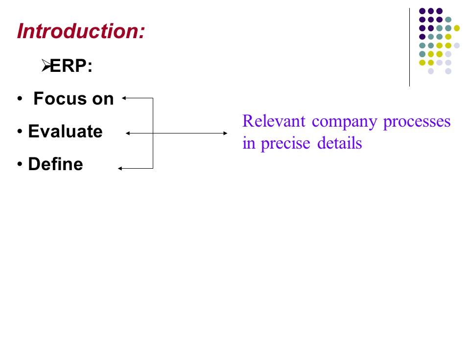 Introduction ERP Focus On Evaluate Define