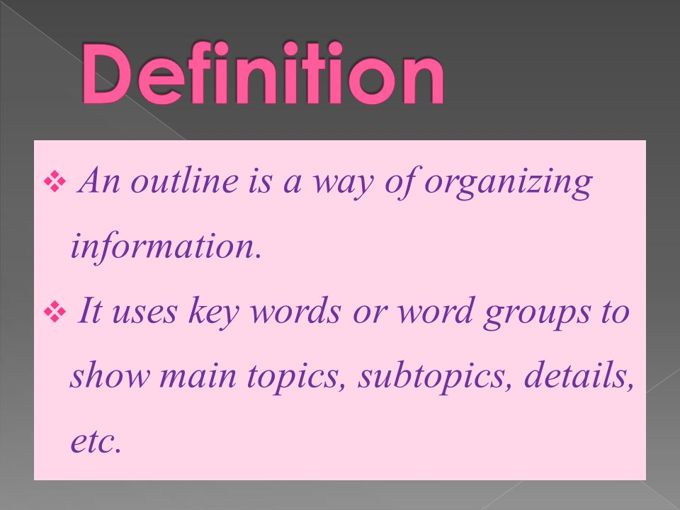 to outline definition
