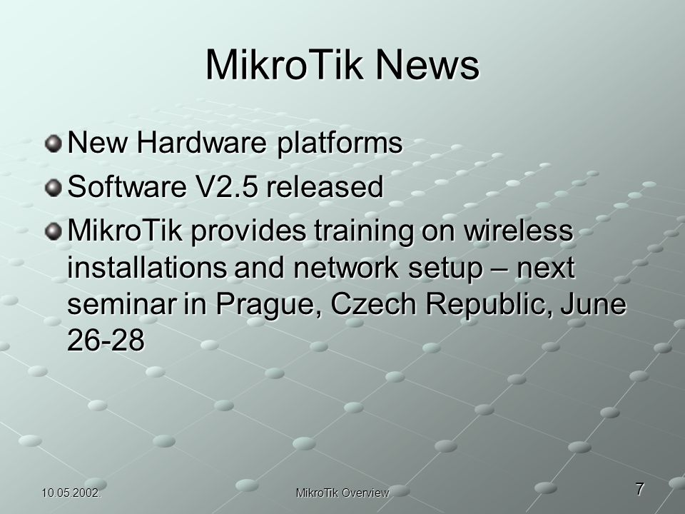 MikroTik Experience Overview - Wireless ISP Solutions - ppt