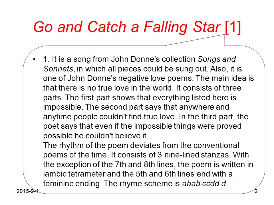 go catch a falling star john donne analysis