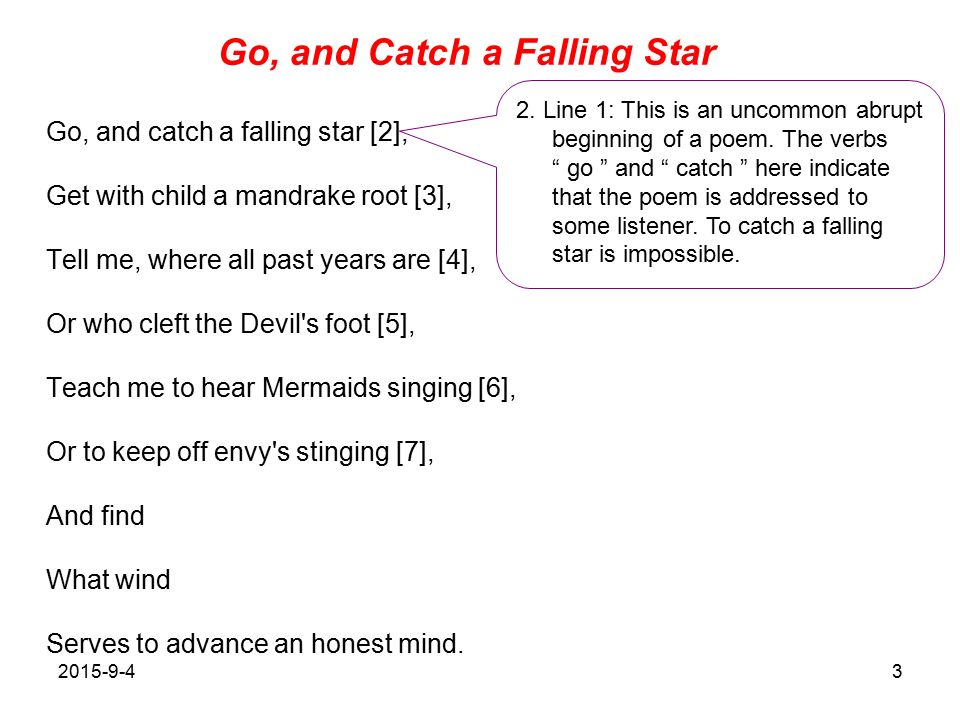 poem go and catch a falling star