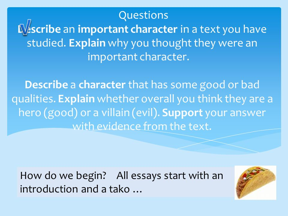 Questions Describe an important character in a text you have studied