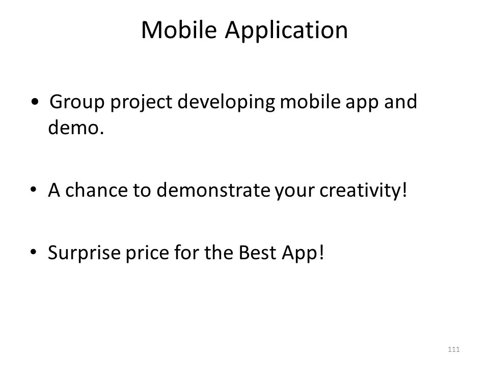Mobile Application • Group project developing mobile app and demo.