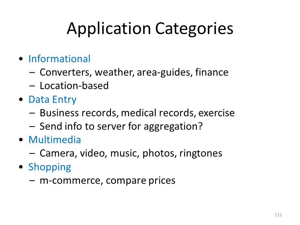 Application Categories