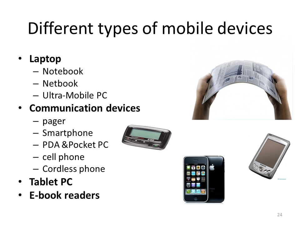 Different types of mobile devices