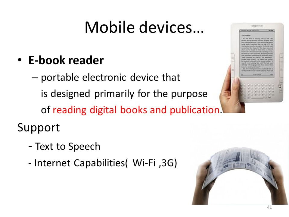 Mobile devices… E-book reader Support - Text to Speech
