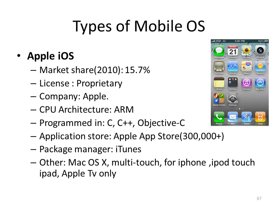 Types of Mobile OS Apple iOS Market share(2010): 15.7%