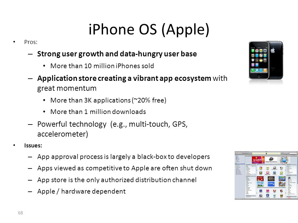 iPhone OS (Apple) Strong user growth and data-hungry user base