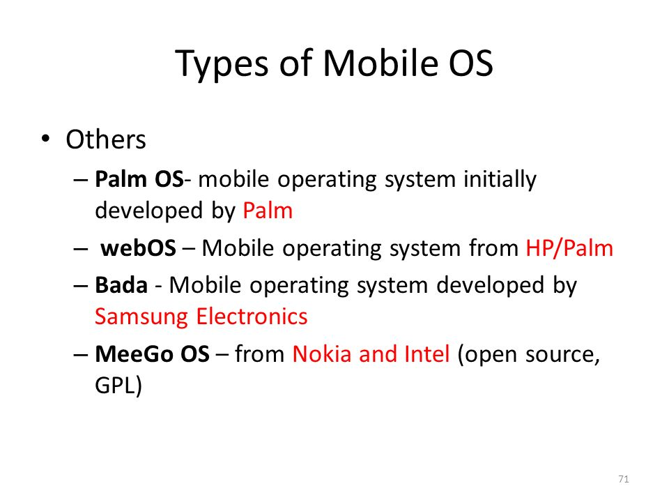 Types of Mobile OS Others