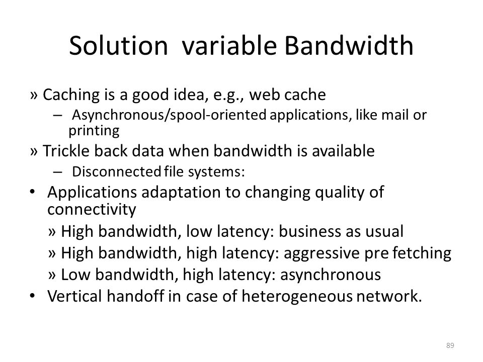 Solution variable Bandwidth