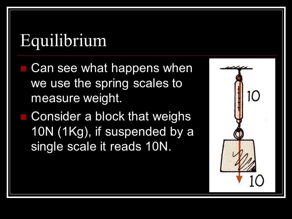 Equilibrium Can see what happens when we use the spring scales to measure weight.