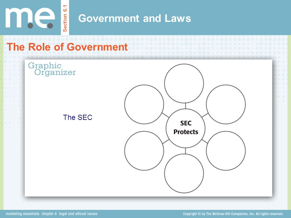 Government and Laws Section 6.1 The Role of Government The SEC