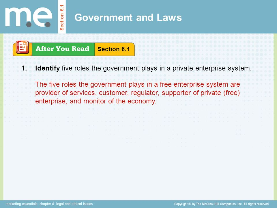 Government and Laws Section 6.1. Section Identify five roles the government plays in a private enterprise system.