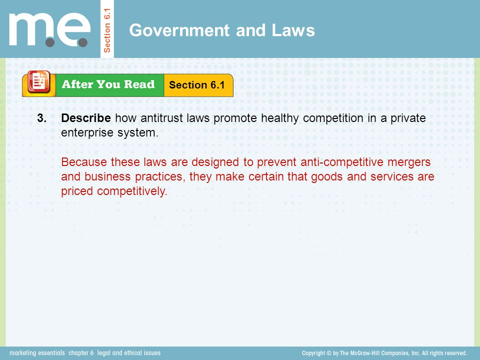 Government and Laws Section 6.1. Section Describe how antitrust laws promote healthy competition in a private enterprise system.