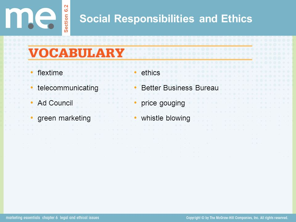 Social Responsibilities and Ethics
