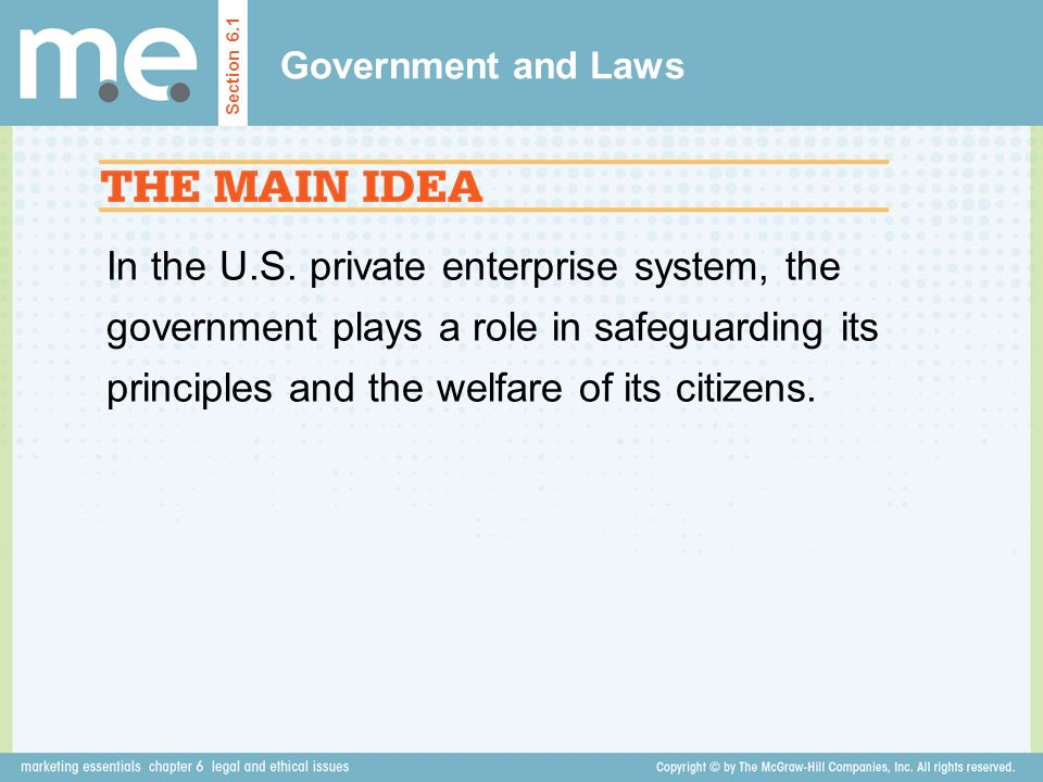 Government and Laws Section 6.1.