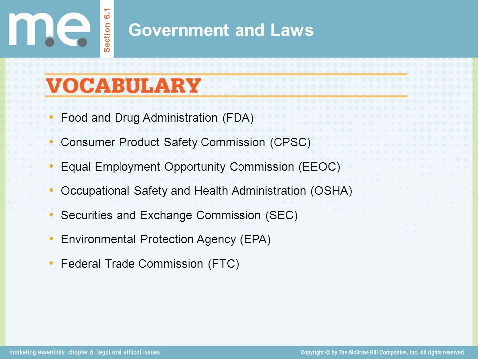 Government and Laws Food and Drug Administration (FDA)