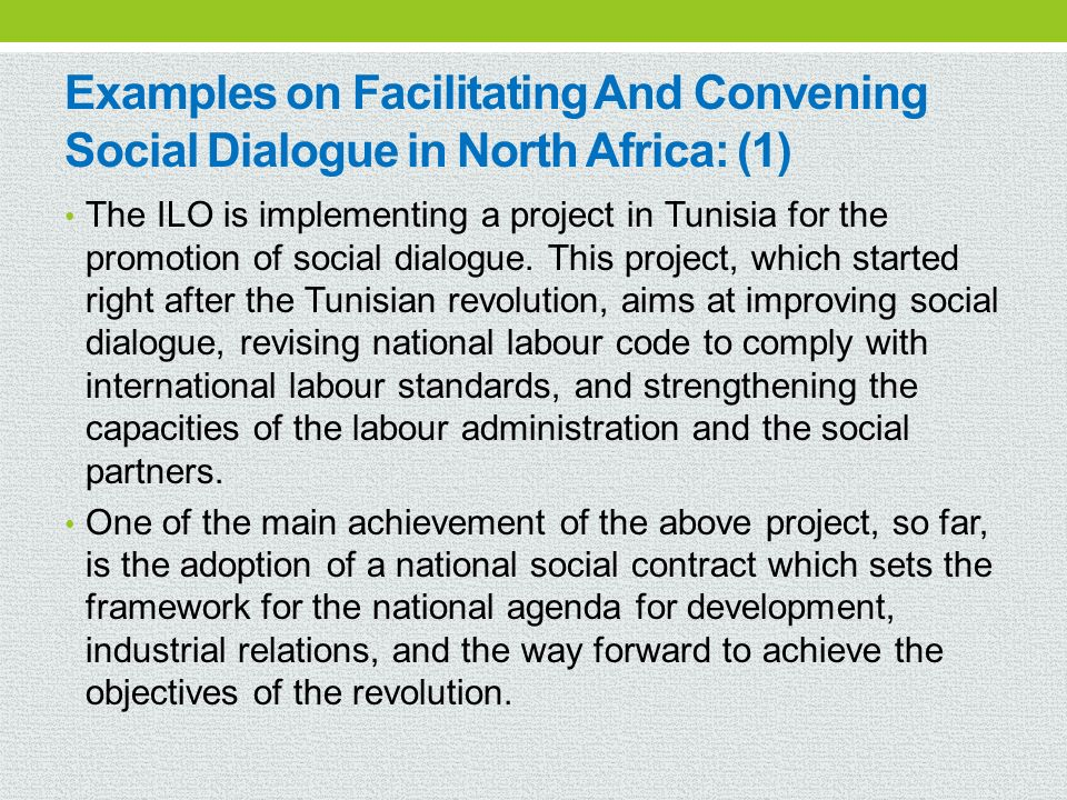 Examples on Facilitating And Convening Social Dialogue in North Africa: (1)