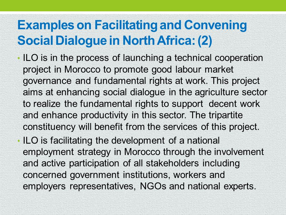 Examples on Facilitating and Convening Social Dialogue in North Africa: (2)