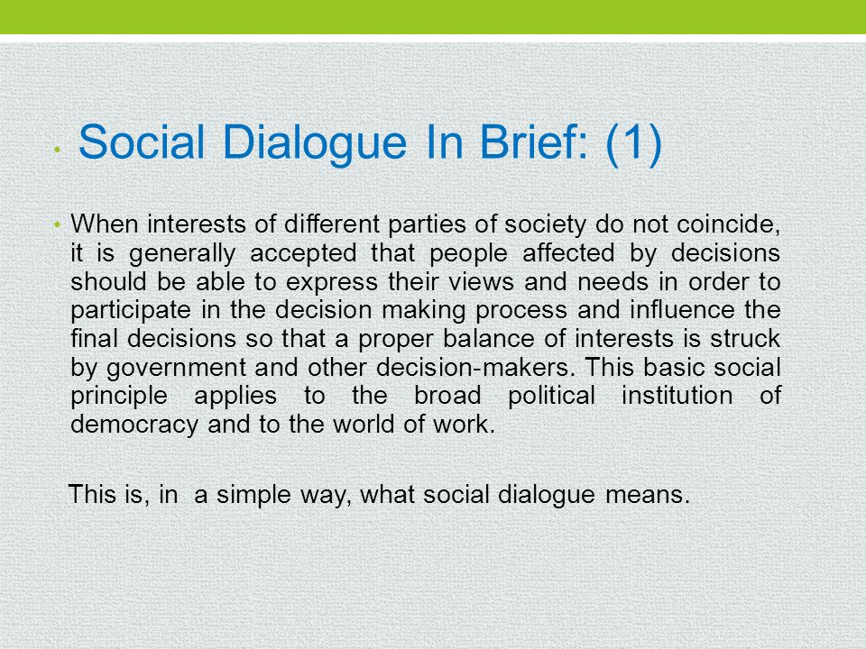 Social Dialogue In Brief: (1)