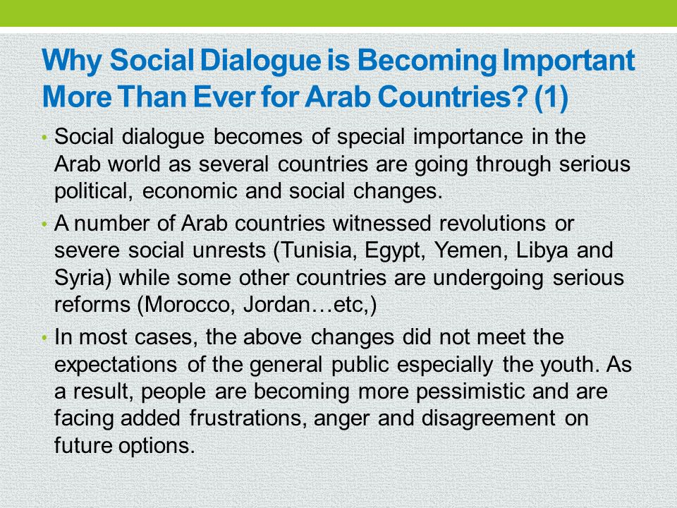 Why Social Dialogue is Becoming Important More Than Ever for Arab Countries (1)