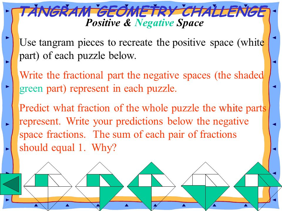 TANGRAM GEOMETRY CHALLENGE Positive & Negative Space