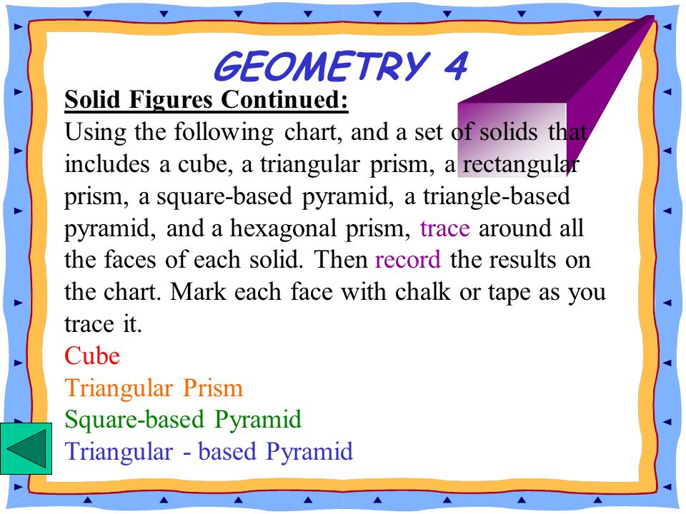 GEOMETRY 4 Solid Figures Continued: