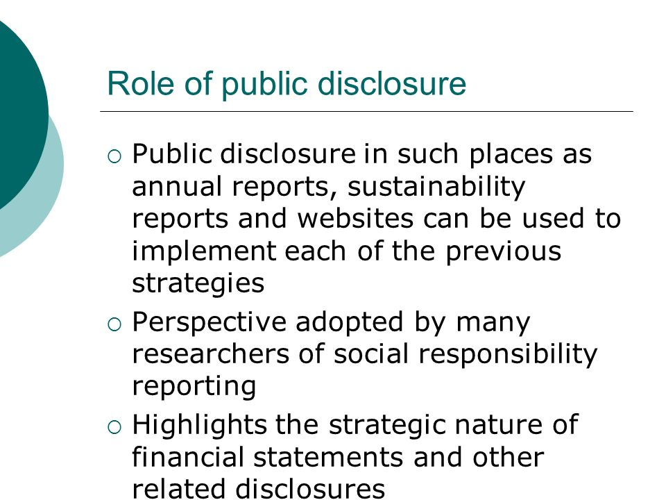 Role of public disclosure