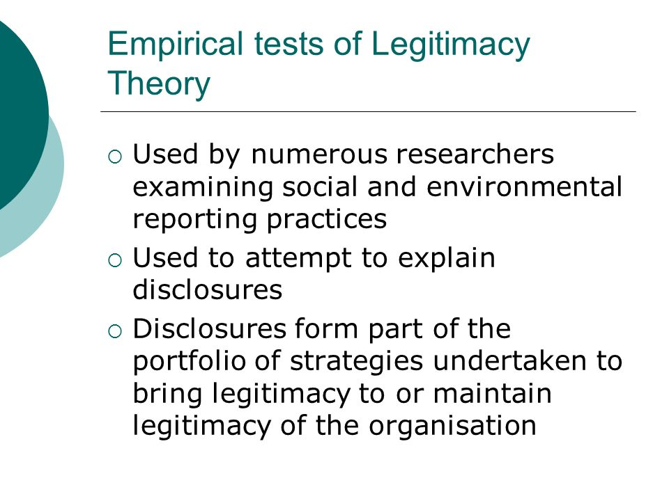Empirical tests of Legitimacy Theory