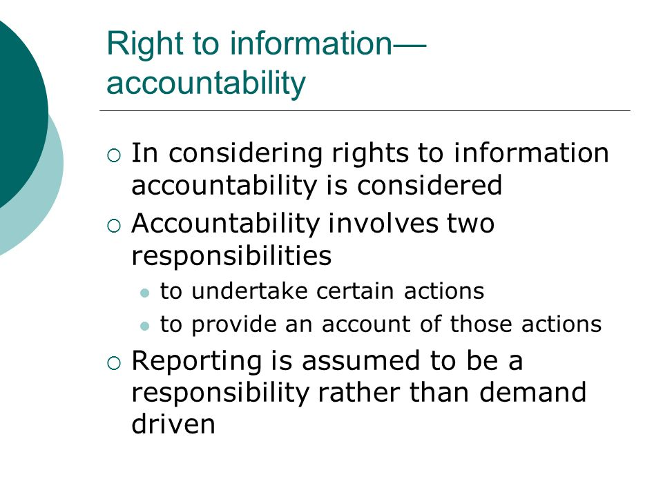 Right to information—accountability