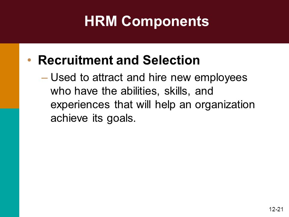 HRM Components Recruitment and Selection