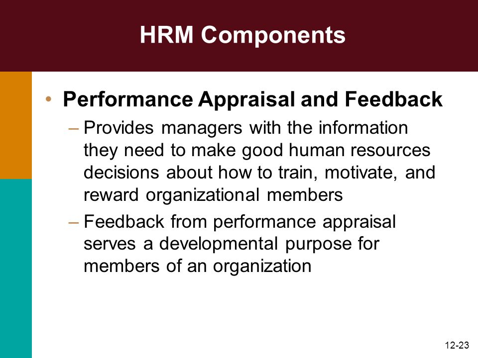 HRM Components Performance Appraisal and Feedback