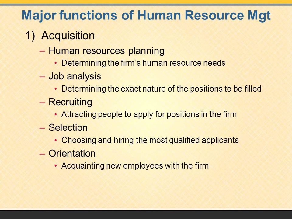Major functions of Human Resource Mgt