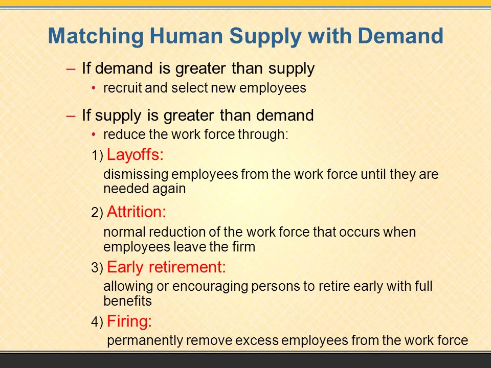Matching Human Supply with Demand