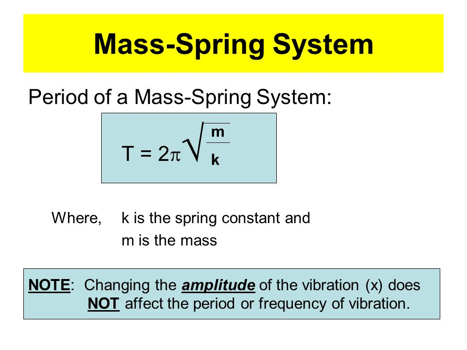 Mass-Spring System Period of a Mass-Spring System: T = 2p√ m k