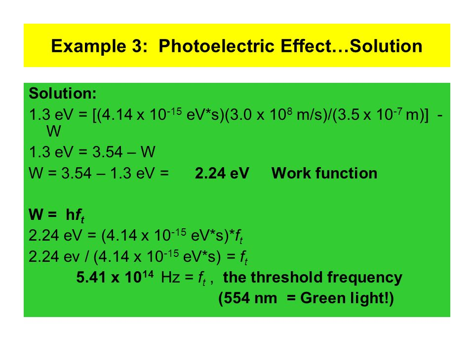 Example 3: Photoelectric Effect…Solution