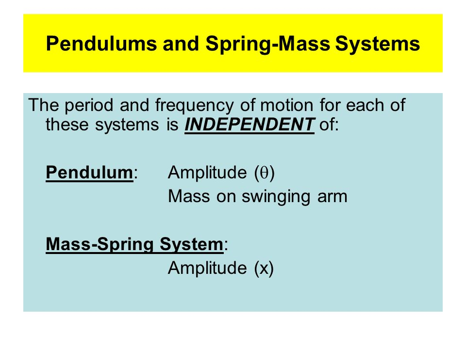Pendulums and Spring-Mass Systems